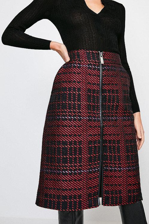 KAREN MILLEN Check Zip Front Midi Skirt(RARE & COLLECTABLE)