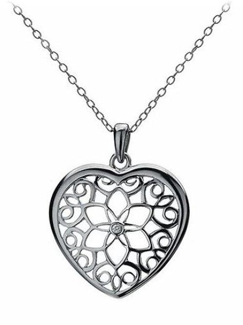 HOT DIAMONDS Levanter Small Heart Pendant with Chain of 40-42.5cm (RARE & COLL)