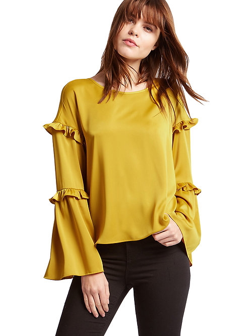 M&S Limited Edition Satin Ruffle Long Sleeve Shell Top T43/3258