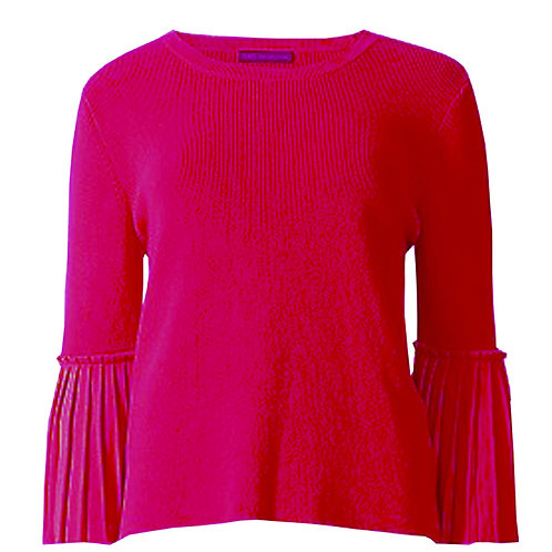 MARKS & SPENCER COLLECTION Round Neck Pleated 3/4 Length Sleeve Jumper T38/7475