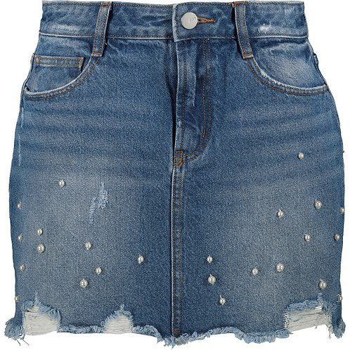 MISS SIXTY Pearl Embellished Denim Skirt (RARE & COLLECTABLE)