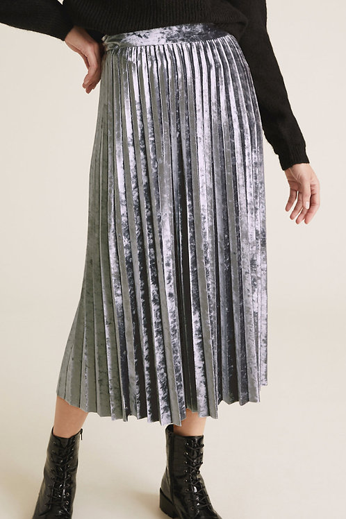M&S COLLECTION Jersey Velvet Pleated Midi Skirt T42/4338