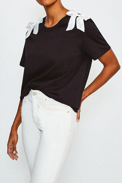 KAREN MILLEN Bow Detail T-Shirt (RARE & COLLECTABLE)