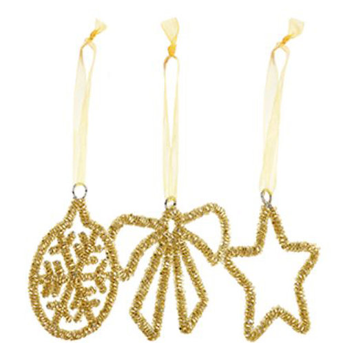 MONSOON 3 Piece Gold Coloured Hanging Decorations