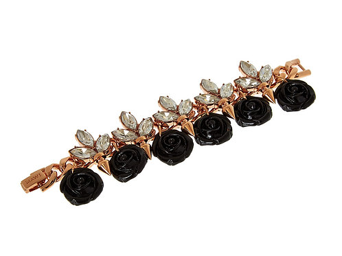 MAWI LONDON Gold Plated Multi Rose and Swarovski Crystals Bracelet (RARE & COLL)