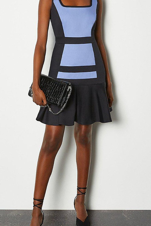 KAREN MILLEN Colour Blocked Cotton Sateen Flippy Hem Dress (RARE & COLLECTABLE)