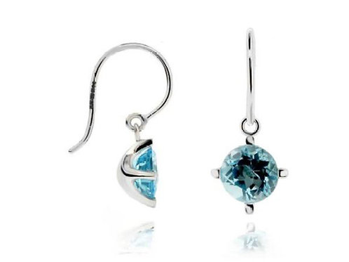 DINNY HALL 14ct White Gold Gem Drop Earrings with Topaz (RARE & COLLECTABLE)
