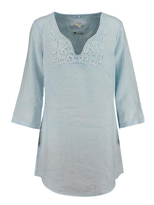 MALVIN Blue Embroidered Linen Tunic