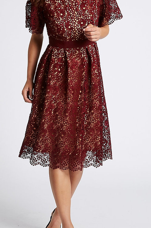 MARKS & SPENCER COLLECTION Floral Lace Short Sleeve Skater Midi Dress T42/8032