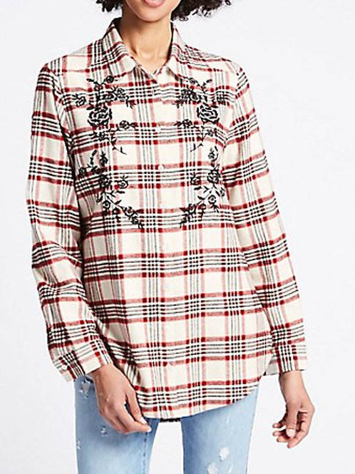 MARKS & SPENCER COLLECTION Pure Cotton Check Embroidered ShirtT43/1261(R&C)