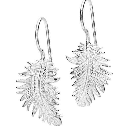 DOWER & HALL Sterling Silver Feather Drop Earrings (RARE & COLLECTABLE)