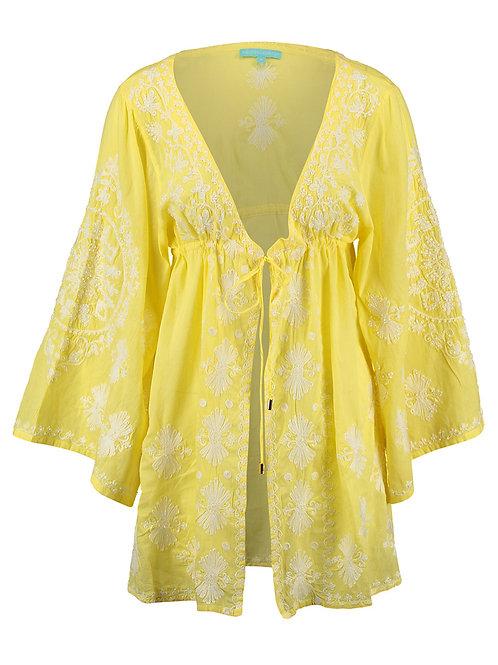 MELISSA ODABASH Yellow Embroidered Hazel Kimono