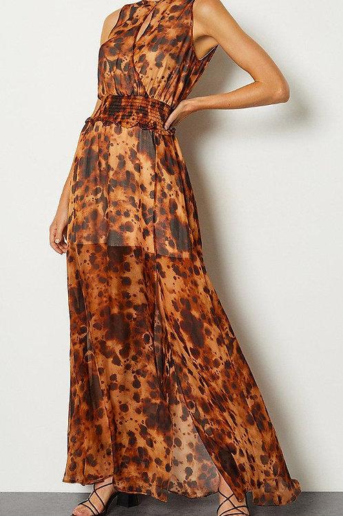 KAREN MILLEN Silk Animal Wrap Front Long Dress (RARE & COLLECTABLE)