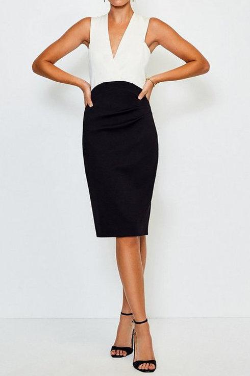 KAREN MILLEN Italian Jersey Plunge Neck Pencil Dress(RARE & COLLECTABLE)