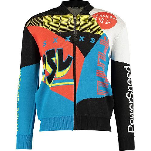 DIESEL Multicolour Block Racing Zip Up Cardigan(RARE & COLLECTABLE)