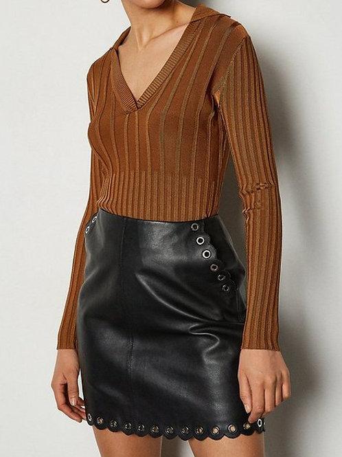 KAREN MILLEN Eyelet Detail Leather Mini Skirt(RARE & COLLECTABLE)