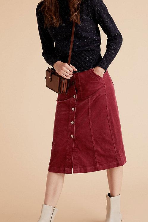 M&S by PER UNA Corduroy Button Front Midi A-Line Skirt T53/8220U