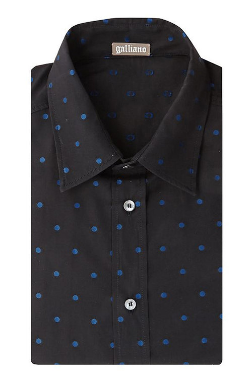 GALLIANO Dark Blue Dot Patterned Men's Shirt (RARE & COLLECTABLE)