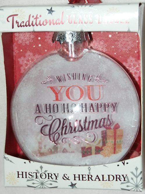 HISTORY & HERALDRY A Ho Ho Happy Christmas Glass Bauble