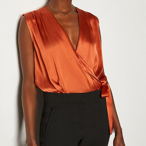 KAREN MILLEN Sleeveless Silk Satin Draped Bodysuit Blouse (RARE & COLLECTABLE)