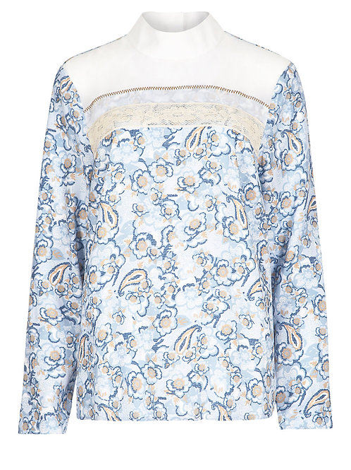 M&S Limited Edition 70's style Floral Panelled Blouse T69/8633J