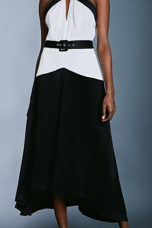 KAREN MILLEN Colour Block Satin Crepe Dress With Belt (RARE & COLLECTABLE)