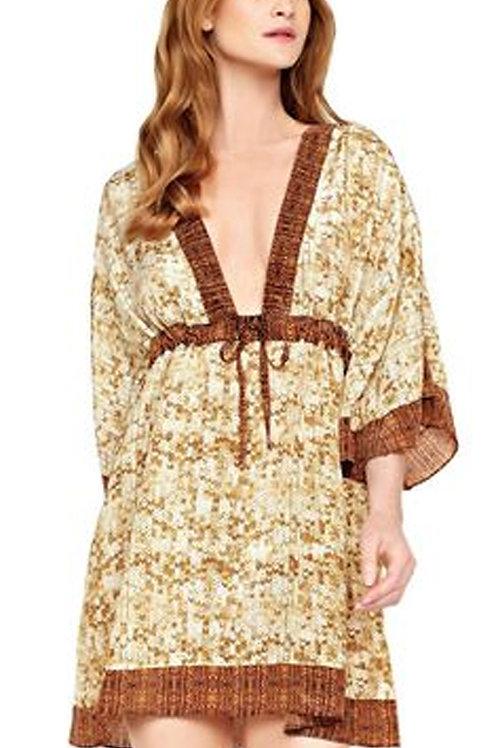 GOTTEX Collection L'Amour Sequin Print Silk Kimono Beach Dress 16LM-611R (R&C)