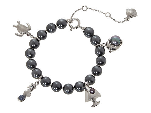 MISAKI 925 Sterling Silver St Barth Bracelet with Cultured Pearls (RARE & COLL)
