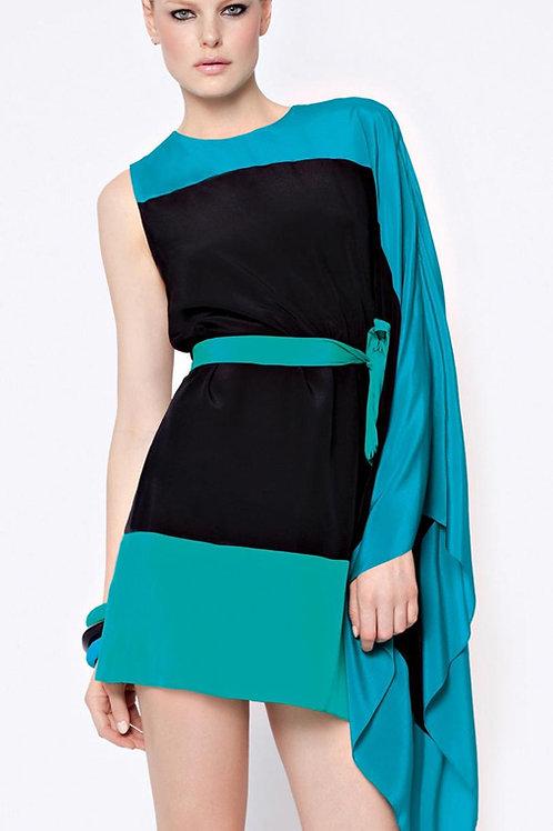 GOTTEX Kira One Shoulder 100% Silk Asymmetric Colour Block Dress Kimono (R&C)