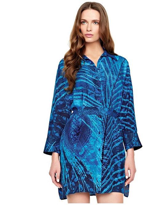 GOTTEX CONTOUR Santiago Cobalt Silk Tunic Dress 16SN-620R (RARE & COLLECTABLE)