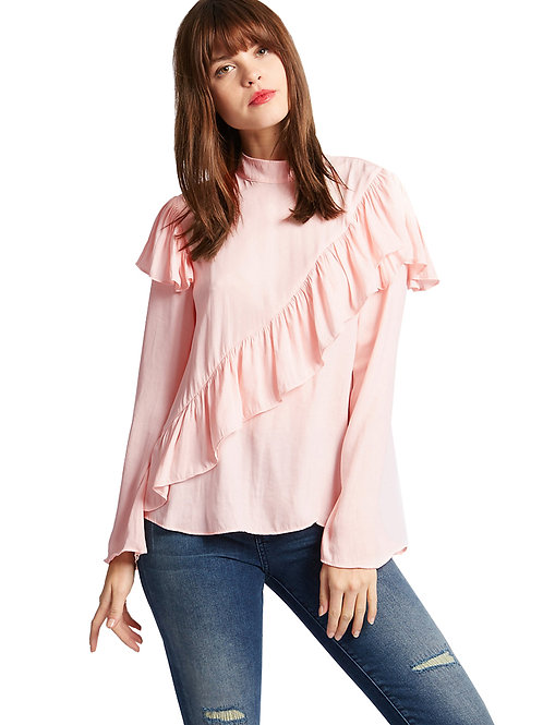 M&S Limited Edition Ruffle Front High Neck Blouse T43/3202