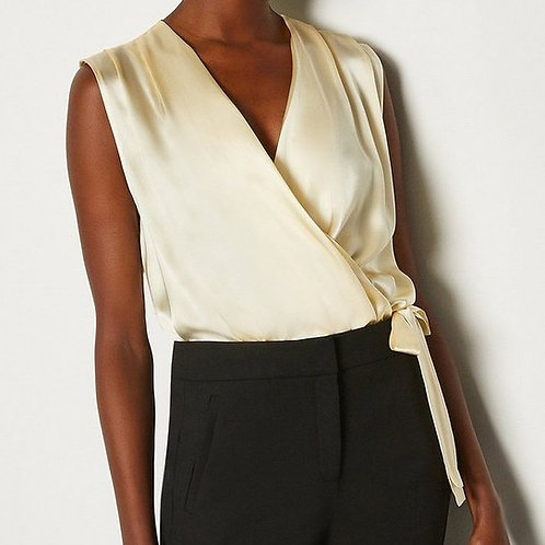 KAREN MILLEN Sleeveless Silk Satin Draped Bodysuit Blouse  (RARE & COLLECTABLE)