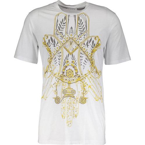 VERSACE COLLECTION Girocollo Stretch Bianco Stampa Filigree Print T-Shirt (R&C)