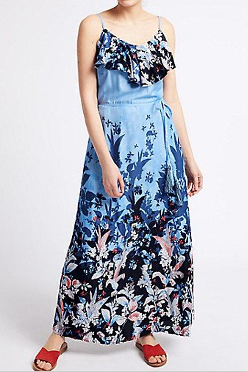 M&S PER UNA Floral Print Ruffle Maxi Dress T423/095U(RARE & COLLECTABLE)