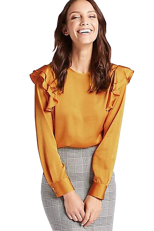 MARKS & SPENCER COLLECTION Frill Shoulder Round Neck Shell Top T43/6439