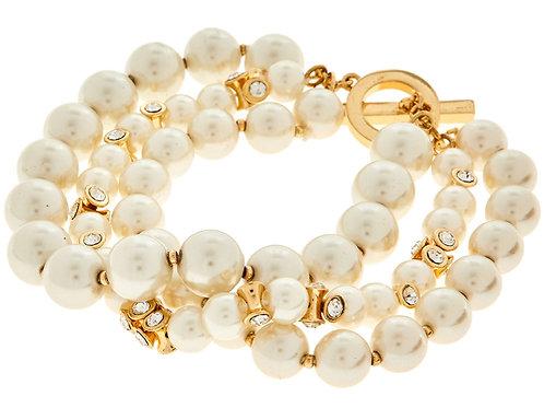 ANNE KLEIN Faux Pearl Triple Strand Bracelet (RARE & COLLECTABLE