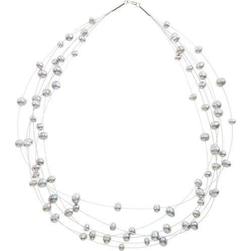 KYOTO PEARL 925 Sterling Silver Freshwater Pearl Floater Necklace (RARE & COLL)