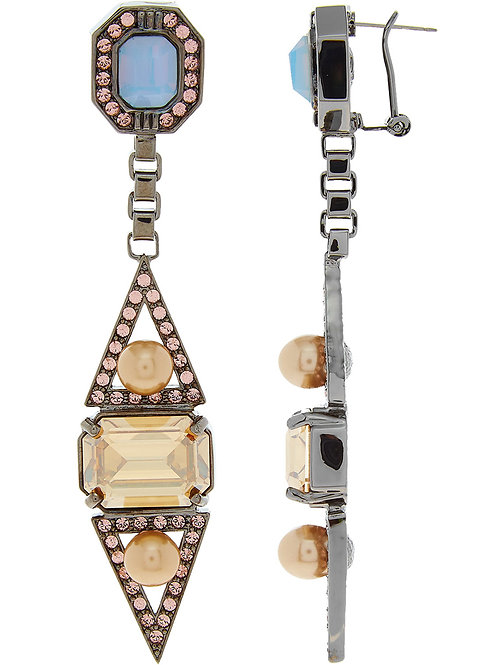 MAWI LONDON Hematite Plated Crystals and Pearl Drop Earrings (RARE & COLLECTABLE