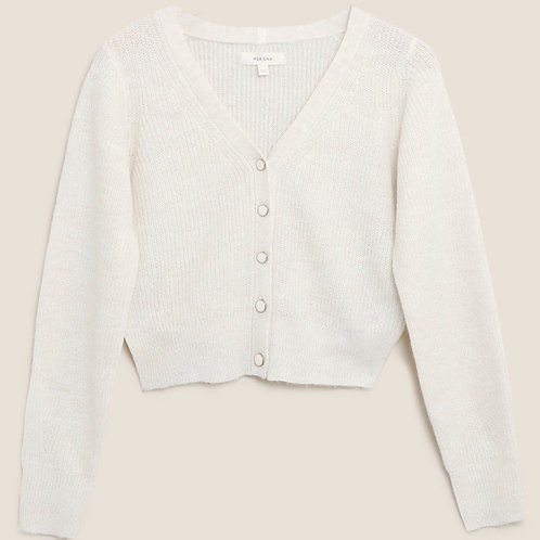 M&S by PER UNA Ribbed V-Neck Cropped Cardigan With Wool