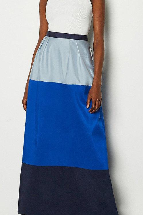 KAREN MILLEN Silk Colourblock Maxi Skirt (RARE & COLLECTABLE)