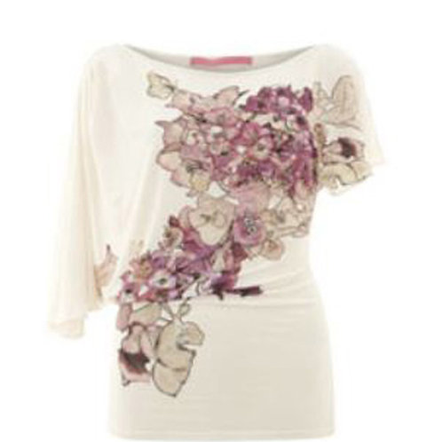 EMANUEL UNGARO Cream Floral Asymmetric Top