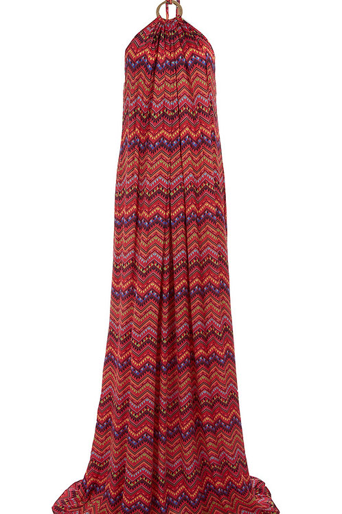 MARIANNA G Mariza Geo Zigzag Halter Maxi Dress (RARE & COLLECTABLE)