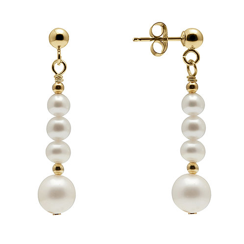 KYOTO PEARL Statement Four Pearl Drop Earrings (RARE & COLLECTABLE)