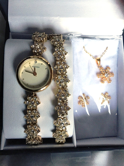 SEKONDA Ladies Gold Coloured Bracelet Watch Pendant Earrings Gift Set
