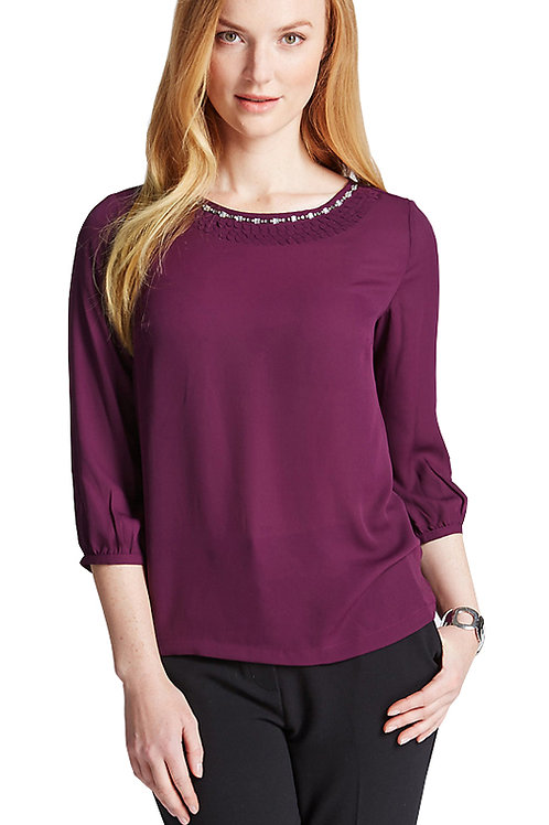 M&S CLASSIC ¾ Sleeve Bead Frill Blouse T58/3619