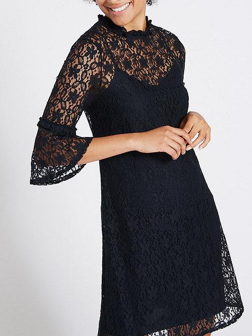 MARKS & SPENCER COLLECTION Cotton Rich Lace 3/4 Sleeve Swing Dress T42/6572