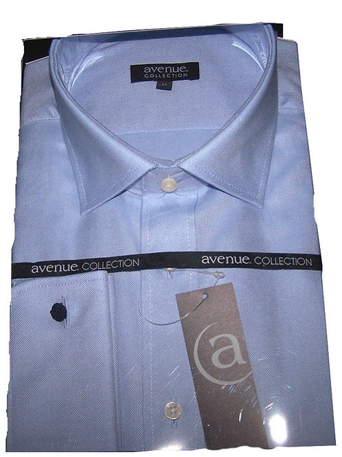 AVENUE Collection Mens Luxury Two Ply Blue Shirt