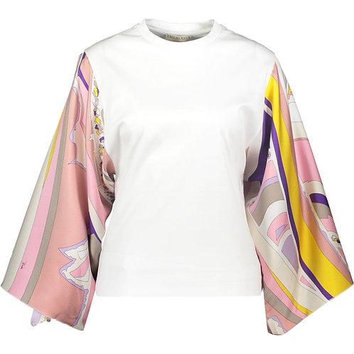 EMILIO PUCCI Multicoloured Striped Silk Sleeves Blouse(RARE & COLLECTABLE)