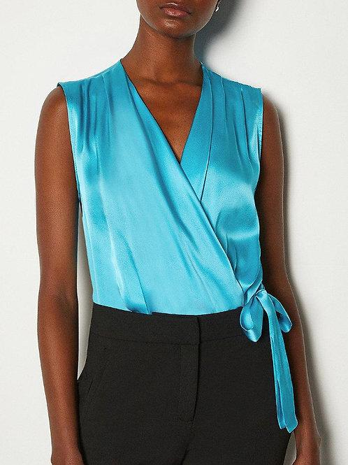 KAREN MILLEN Sleeveless Silk Satin Draped Bodysuit Blouse(RARE & COLLECTABLE)