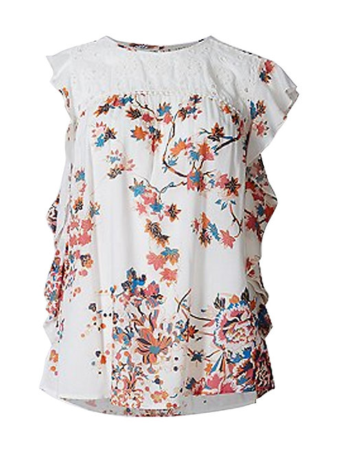 MARKS & SPENCER Indigo Collection Pure Modal Printed Cap Sleeve Shell Top T43/62